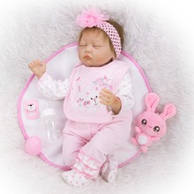 55cm Handmade cotton body + Silicone Reborn Baby Doll bebe girl reborn Toy Realistic Newborn Alive Sleeping doll clothes gift 50 55cm silicone reborn baby doll top quality handmade soft touch body vinyl realistic baby doll with pink clothes best