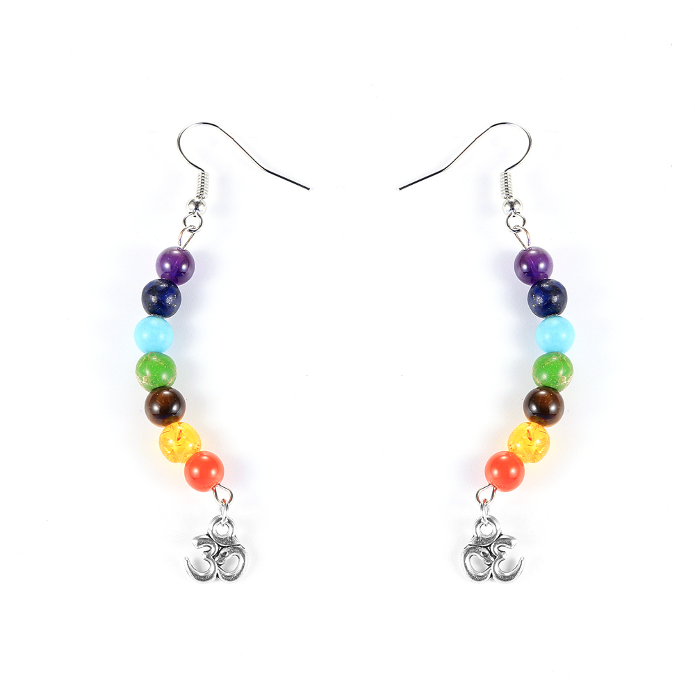 Women Natural Stone 7 Chakras Beads Dangling Earring Healing Reiki Asymmetric Chip Gravel Pierced Earrings Hoops Hanging Jewelry