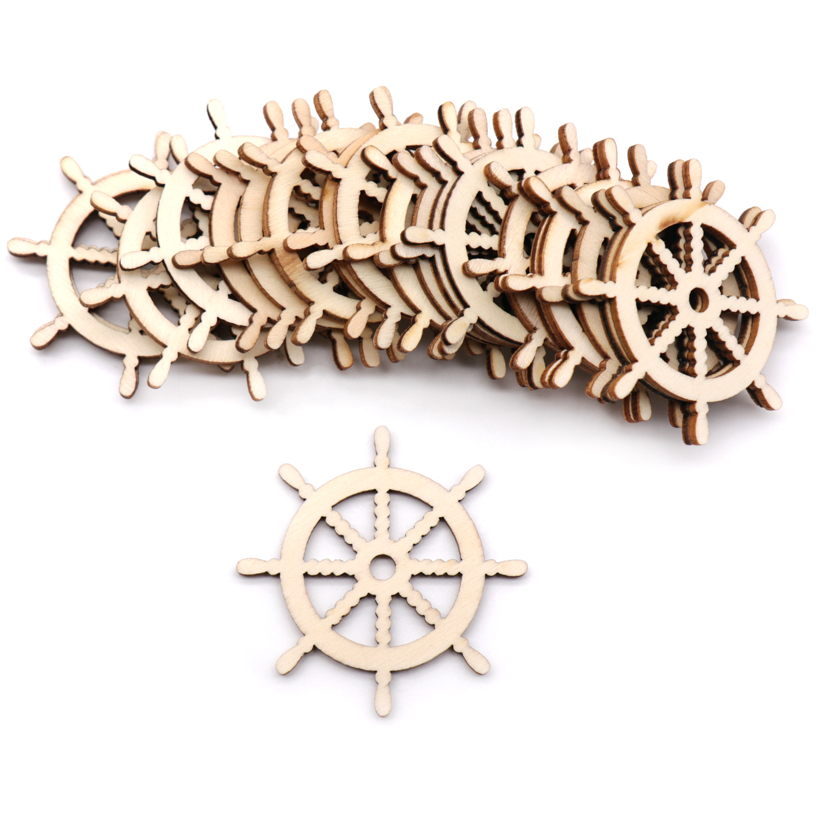 10pcs Wooden Anchor & Steering Sailing Boat  Crafts Wall Hanging Pendant Ornament DIY Scrapbook Home Wedding Party Supply