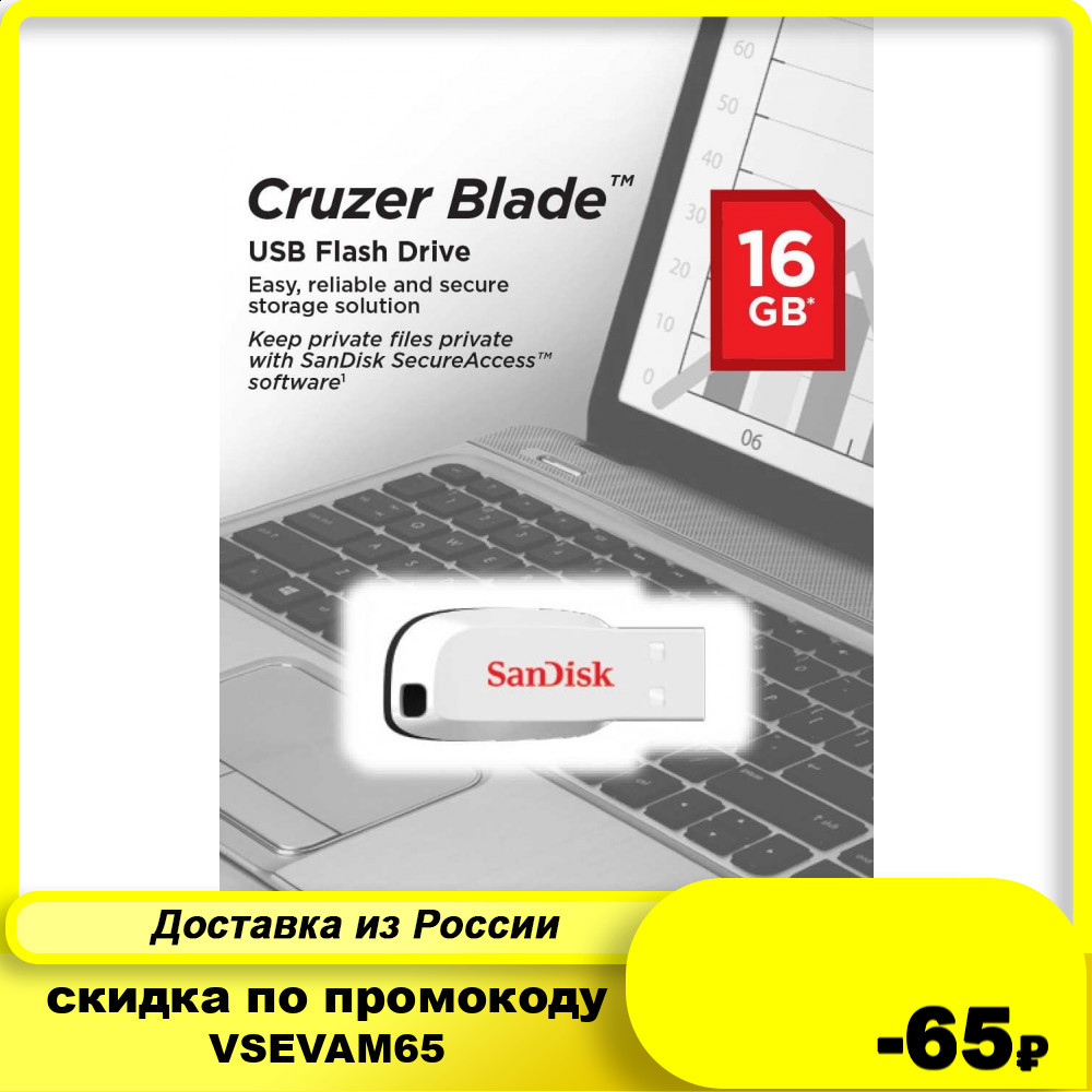 Флеш-накопитель SanDisk 16Gb Cruzer Blade USB 2.0 White