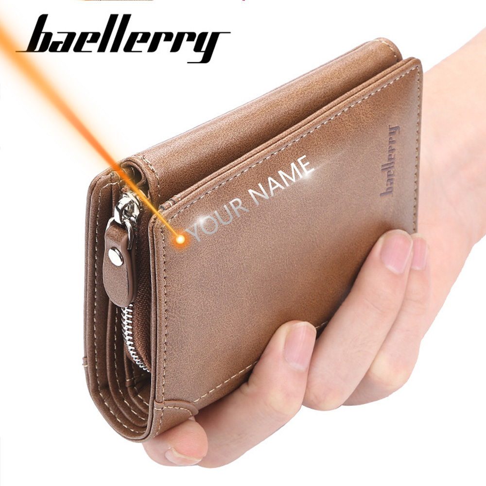 2019 Baellerry Short Men Wallets 11 Card Holders Desigh Zipper Men Leather Purse Solid Coin Pocket High Quality Male Purse