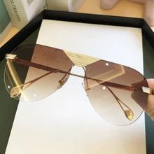 Rimless One Piece Alloy Pilot Sunglasses For Men 2020 Fashion Vintage Aviation S