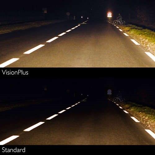 Lâmpada h7 12 v 55 w (px26d) (+ 60% luz) visão plus (2 peças philips 12972vps2 - 4