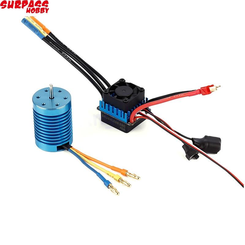3650 4370KV 4P Sensorless Brushless Motor With 45A Brushless ESC For 1/10 RC Off-Road Car