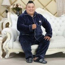 Winter Two Piece Set Nightwear Flannel Long Sleeve Sleep Tops Men Pajamas 5XL Plus Size Homewear Men Sleepwear Set Lounge Wear