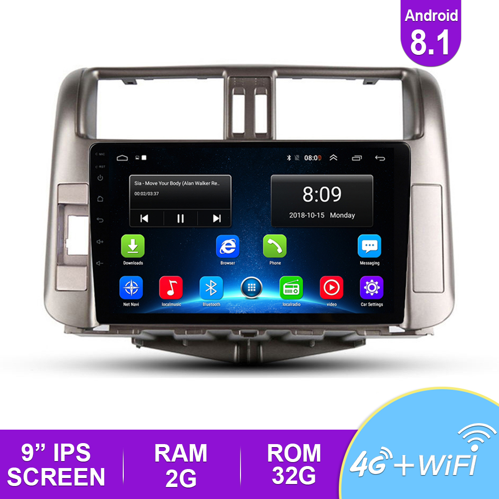 <font><b>2</b></font>.5D IPS Android 8.1 <font><b>Car</b></font> Multimedia Player AutoRadio <font><b>For</b></font> <font><b>Toyota</b></font> Land Cruiser <font><b>Prado</b></font> <font><b>150</b></font> <font><b>2010</b></font>-2013 Stereo GPS Navigation 4G BT DVD image