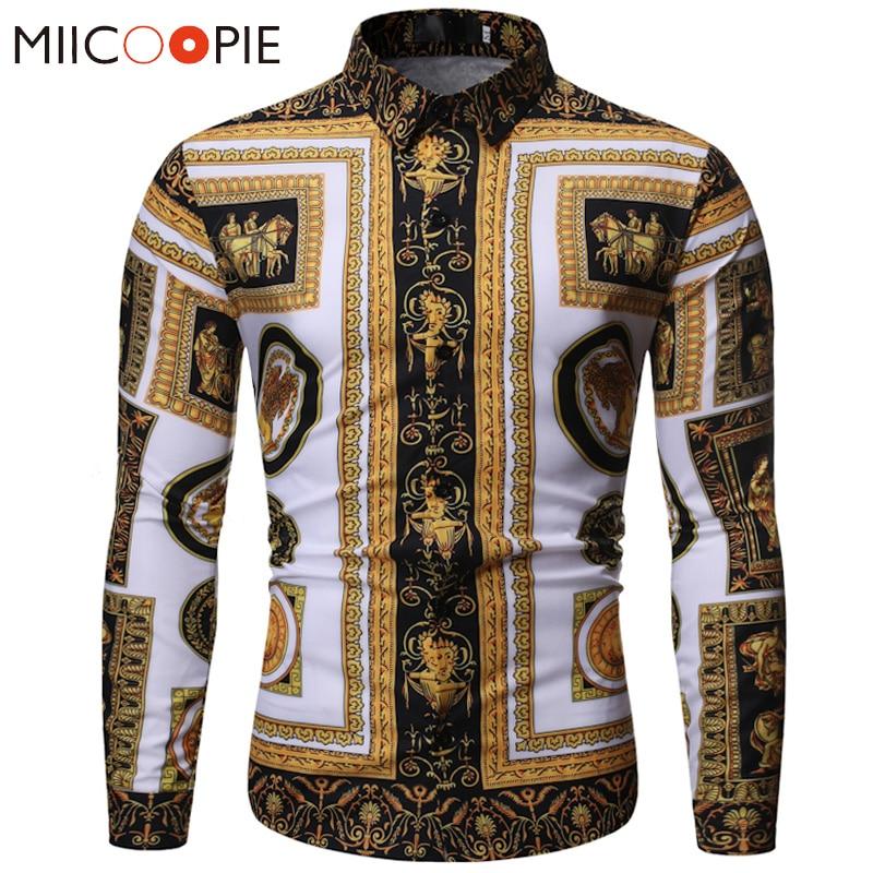 Fashion Luxury Royal Shirt Korean Style Men Baroque Floral Print Chemise Homme Manche Longue Slim Fit Male Casual Dress Shirt