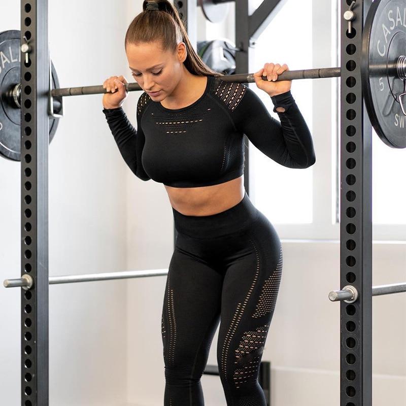 Women Seamless Gym Sets High Waist Gym Mesh Leggings Shirts Suit Long Sleeve Fitness Workout Sports Running Thin Sport Sets