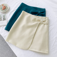 AcFirst Autumn Winter Blue Women Skirts High Waist A-Line Mini All-match Clothing Casual Corduroy
