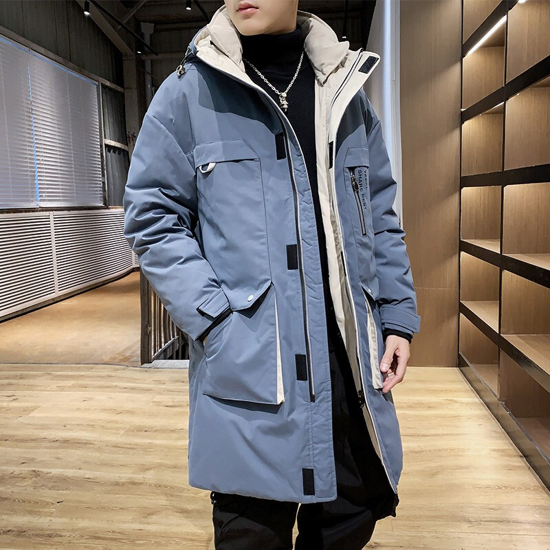 High Quality White Duck Down Men's Winter Long  Jacket Windbreaker Down Coat Man Hooded Overcoat Thick Warm Puffer Jacket
