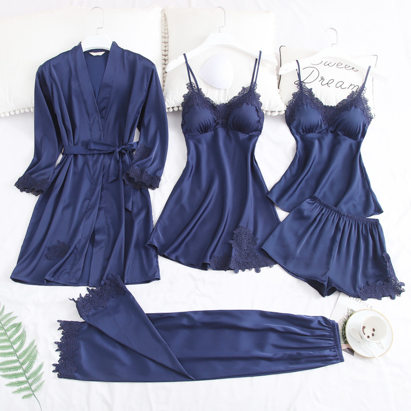 Sexy Women's Satin Robe & Gown Sets Lace Bathrobe + Night Dress 5 Five Pieces Sleepwear Soft Womens Sleep Set Faux Silk Robe