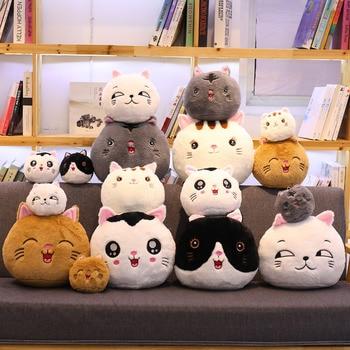 Japan Kawaii Anime Cat Plush Toys Stuffed Cute Cat Dumplings Doll Cute Animal Flower Cat Gray Cat Toy Pillow Soft Cartoon Toys japan genuine 2019 new year cute kawaii mascot zodiac lucky blessing pig cat figure decortion desktop