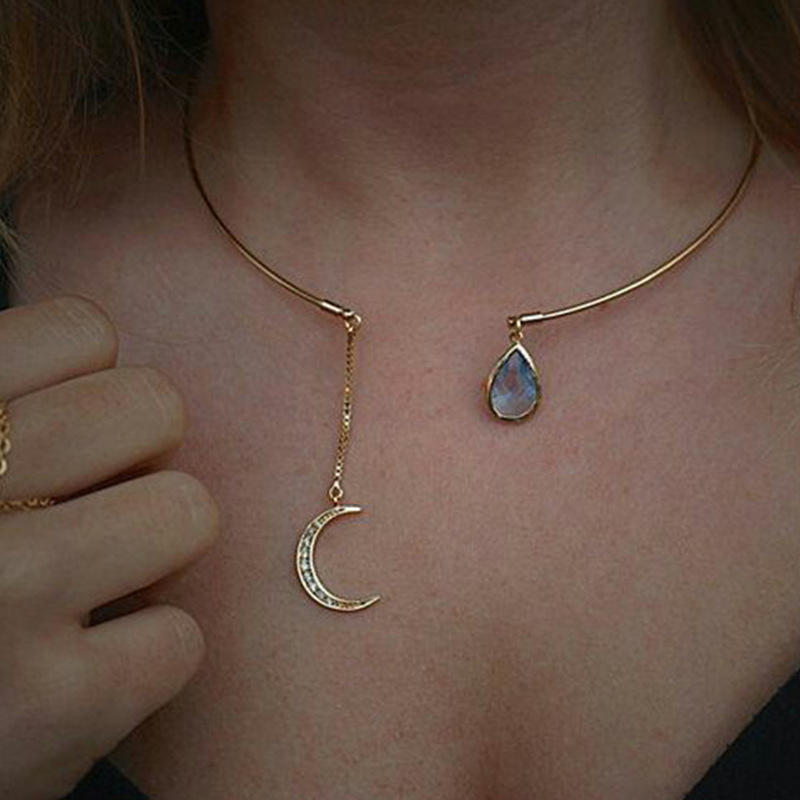 Lady Female Girl Women Girlfriend Couples Lover Metal Gold Silver Color Cute Rhinestone Moon Drop Pendant Charm Necklace