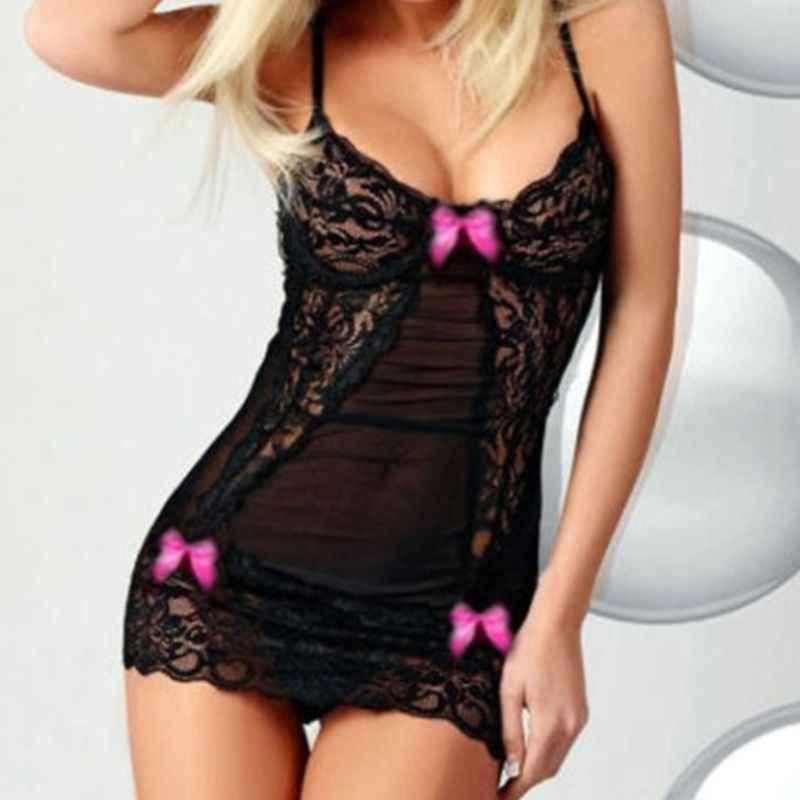 Женское нижнее белье с ремешками крест-накрест комплект с прозрачным кружевным бантом ночная рубашка с украшениями