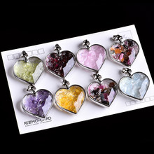 1PC Natural Crystal Mineral Ornament Wishing Bottle Heart Pendant Guardian Fashion Couple Pendant Necklace Pendant Gift Jewelry