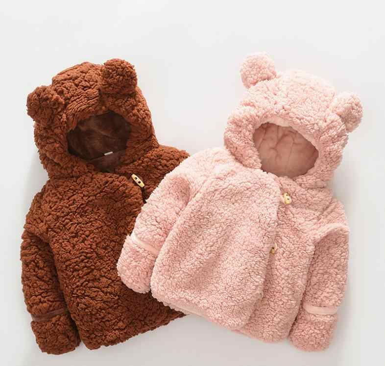 New Autumn Winter Baby Toddler Cardigan Casaco Cute Ear Fleece Unisex Warm Coat Outerwear Soft Hooded Warm Cloak Infant Jacket