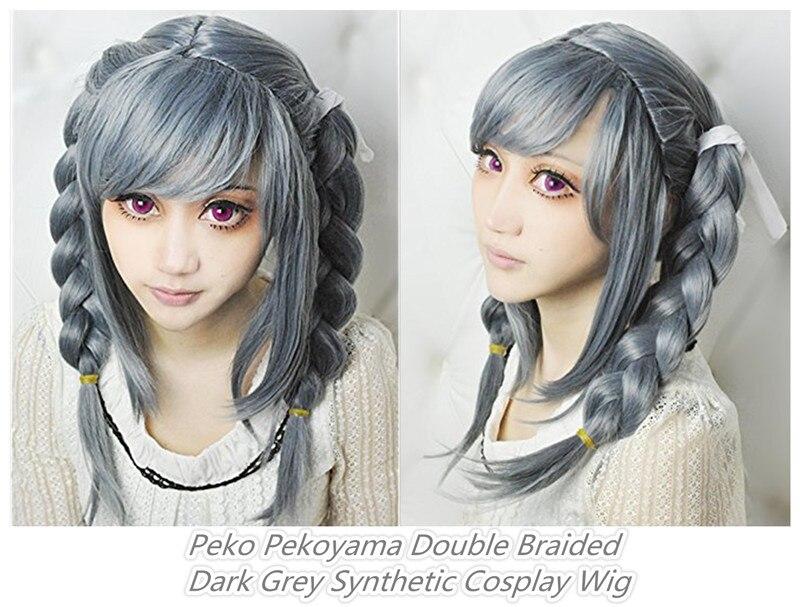 Danganronpa Dangan Ronpa Peko Pekoyama Cosplay Wig Double Braided Grey Heat Resistant Synthetic Hair Wigs + Wig Cap