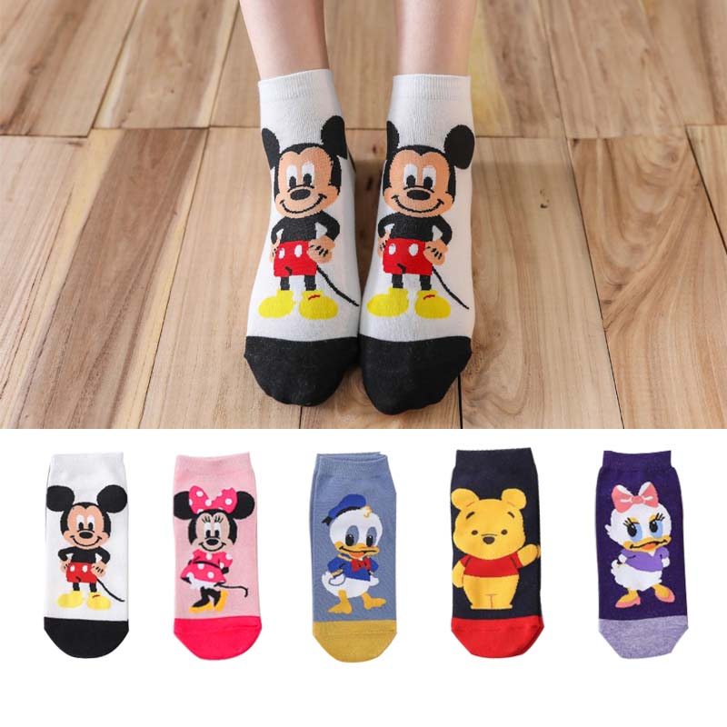 5 Pairs/Lot Casual Women Socks Korea Cartoon Animal Mouse Duck Bear Socks Cotton Girl Funny Ankle Socks Size 35-41 Dropshipping
