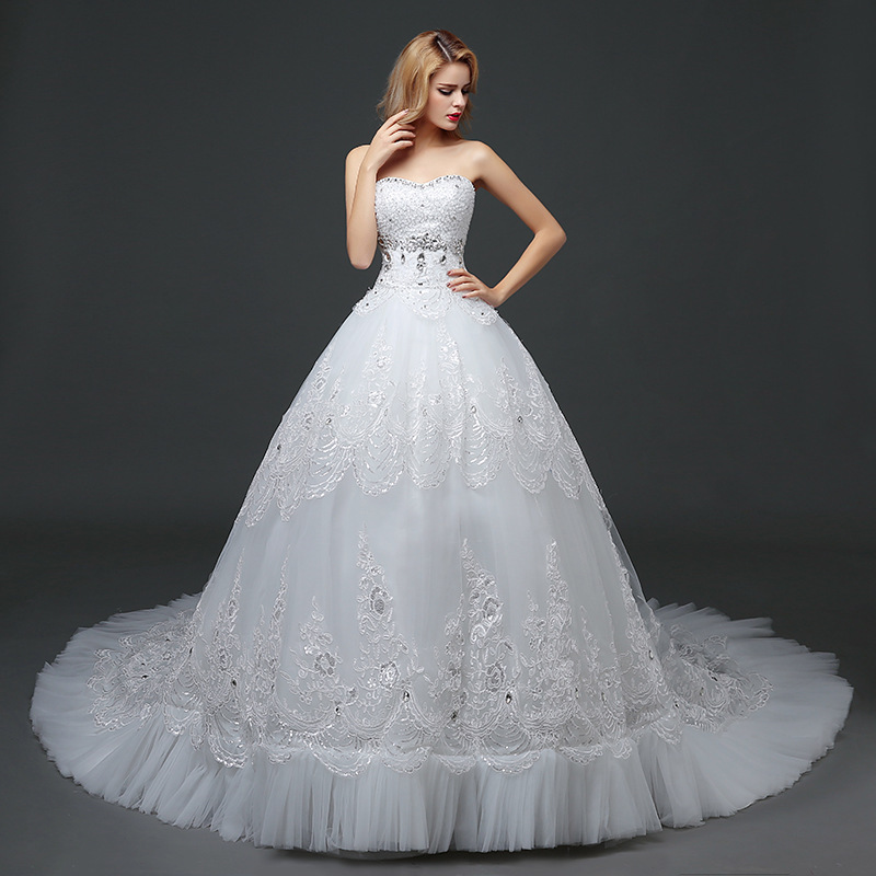 New Fund Of 2020 Luxury That Wipe A Bosom Trailing Dress Is Han Edition Bigger Sizes Show Thin Bride Lace Wedding Dress