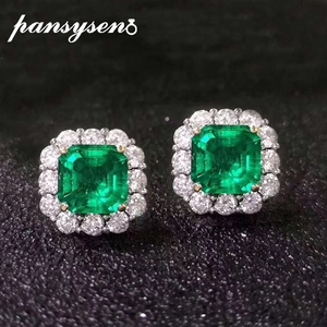 PANSYSEN Vintage Natural Emerald Diamond Earrings for Women Luxury 925 Sterling Silver Jewelry Earrings Wedding Anniversary Gift(China)