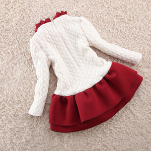 Image 3 - Children Girls Autumn Winter Cotton Velvet Flower Girls Dress Children Long Sleeved White A line Dress Children Girls Xmas Dress