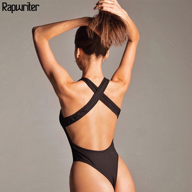 Rapwriter 2020 Summer Sleeveless Sexy Bodysuit Women Backless Cross Bandage Bodycon Outfits Slim Open Crotch Body Mujer Rompers