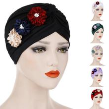 Women Ruffle Flower Hat Turban India Headwear Muslim Chemo Cancer Cap Bonnet Wrap Indian Hat Pleated Beanies Skullies Cap
