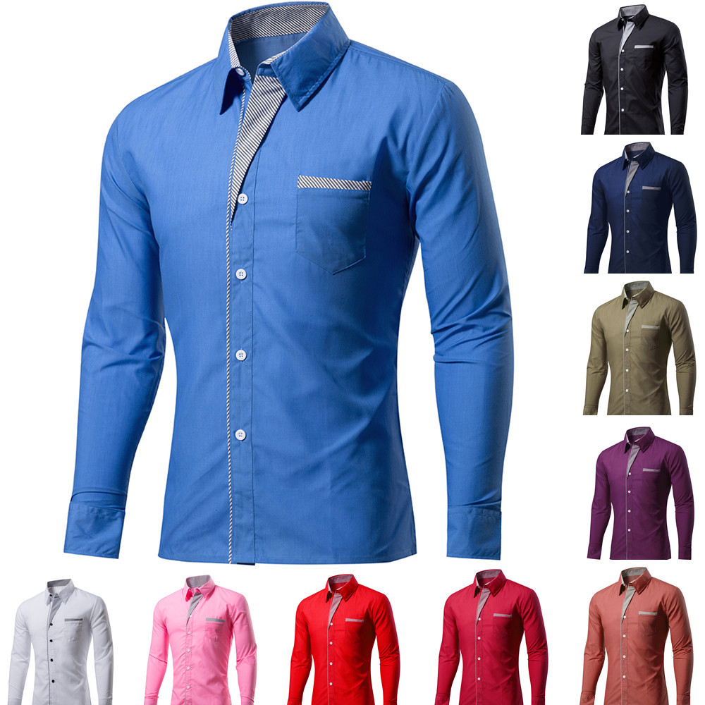 Solid Shirt Men Long Sleeve Shirts Men's Slim Fit Lapel Top Spring Autumn Large Size Shirt Casual Button Size S-4XL Shirts