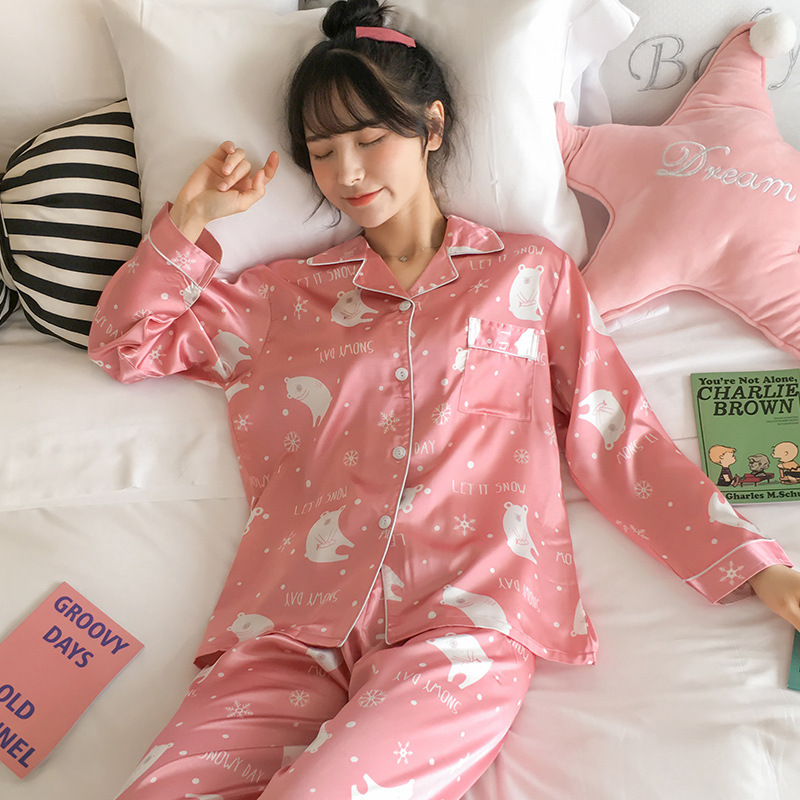 Pajamas Women's Spring And Autumn Thin Snow Bear Viscose Cute Long Sleeve Two-Piece Set Silk Students Large Size Home Wear