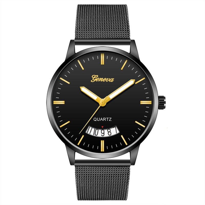 Cross-border EBey Hit Buy Men's Watch With Calendar Geneva Mesh Belt Watch Students Quartz Watch Factory Direct Sale