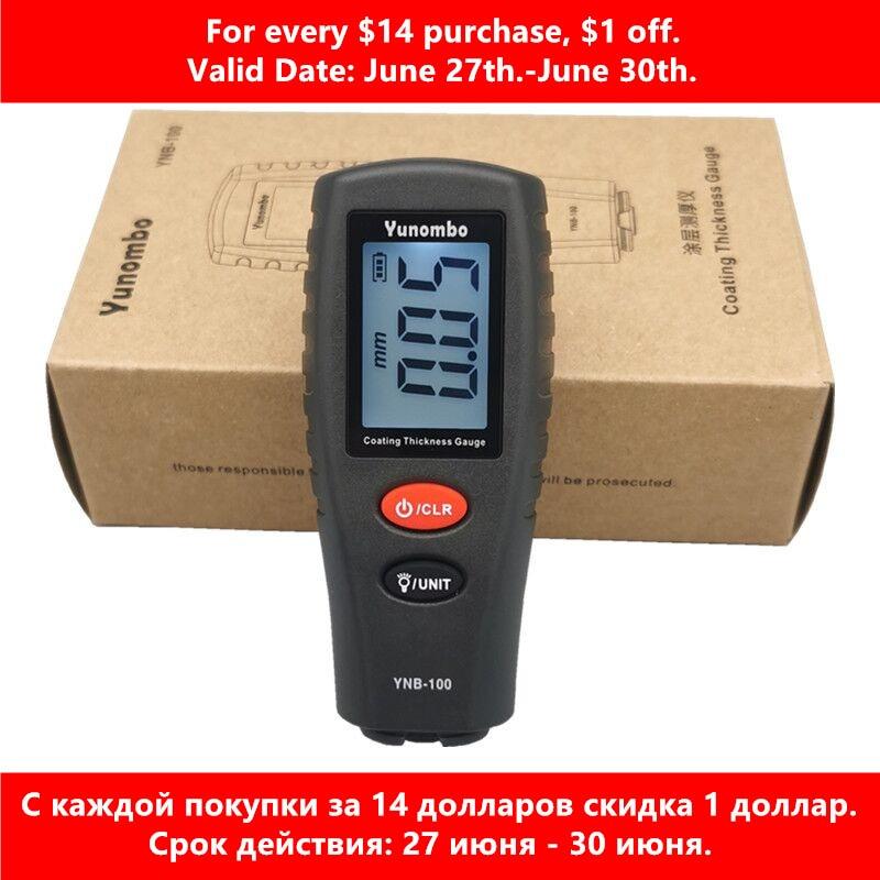Yunombo-tester grubości lakieru samochodowego, podświetlenie, cyfrowy, LCD, warstwa, pokrycie, wskaźnik, YNB-100