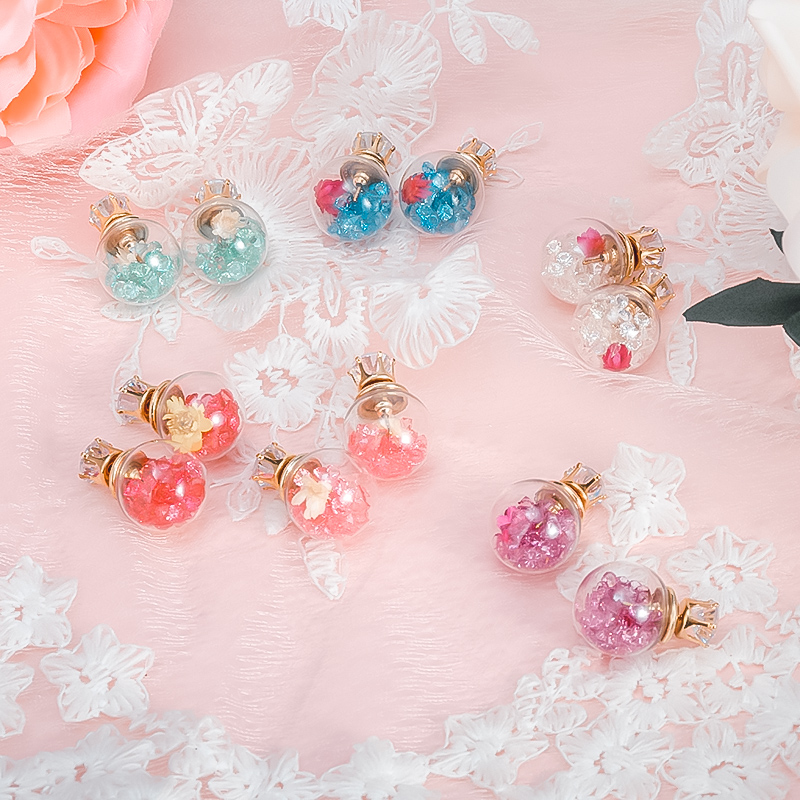 Candy transparent small baby bottle glass ball double-sided round pendant plastic long earrings female temperament earrings(China)