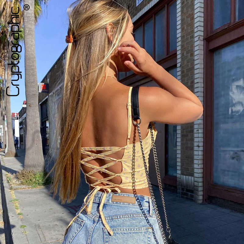 Kryptographische Gelb Floral Print Ärmel Camis Crop Tops Sexy Backless Lace Up 2020 Sommer Straps Cropped Top Feminino