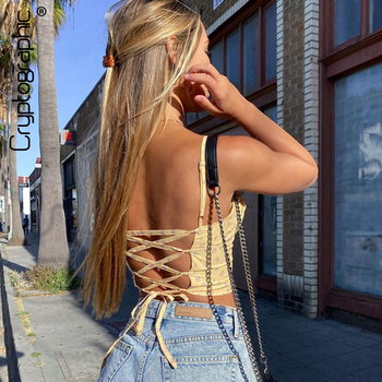 Cryptographic Yellow Floral Print Sleeveless Camis Crop Tops Sexy Backless Lace Up 2020 Summer Straps Cropped Top Feminino цена 2017