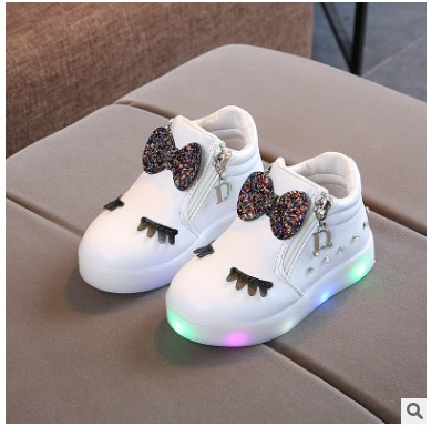 Size 21-30 Children Glowing Sneakers Kid Princess Bow For Girls LED Shoes Cute Baby Sneakers With Light Shoes Krasovki Luminous