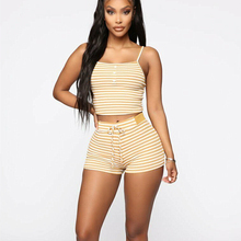 2PCS Women Sleepwear Summer Casual Bodycon Striped Crop Top and Shorts Outfits C