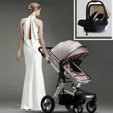 Baby Stroller 3 in 1 with Car Seat High Landscape Pram Folding Baby Carriage Car Seat Strollers Hot Mom Baby Stroller Trolley high quality twins baby stroller double seat baby cart portable folding strollers for twins shockproof pram mutiple baby buggy
