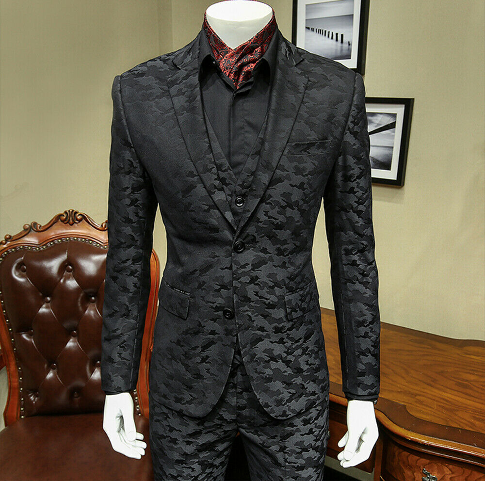 Black Camouflage Mens Wedding Suits Jacket Vest Pants Peaked Lapel Groom Wedding Tuxedos Slim Fit Custom Made