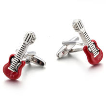 Musical Instrument Series Red Guitar Cufflinks Trendy Men's Jewelry Gifts High-quality French Shirt Cuffs Violin Buttons(China)