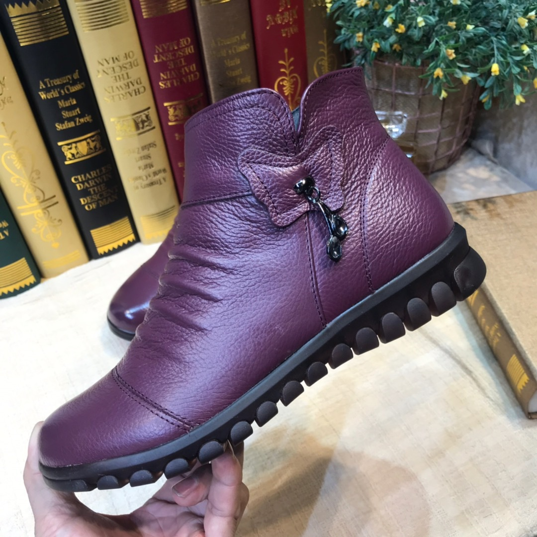 Plus Velvet Short Boots Women's 2019 Winter Genuine Leather Mom Cotton-padded Shoes Thick Bottomed Soft-Sole Comfortable Women's