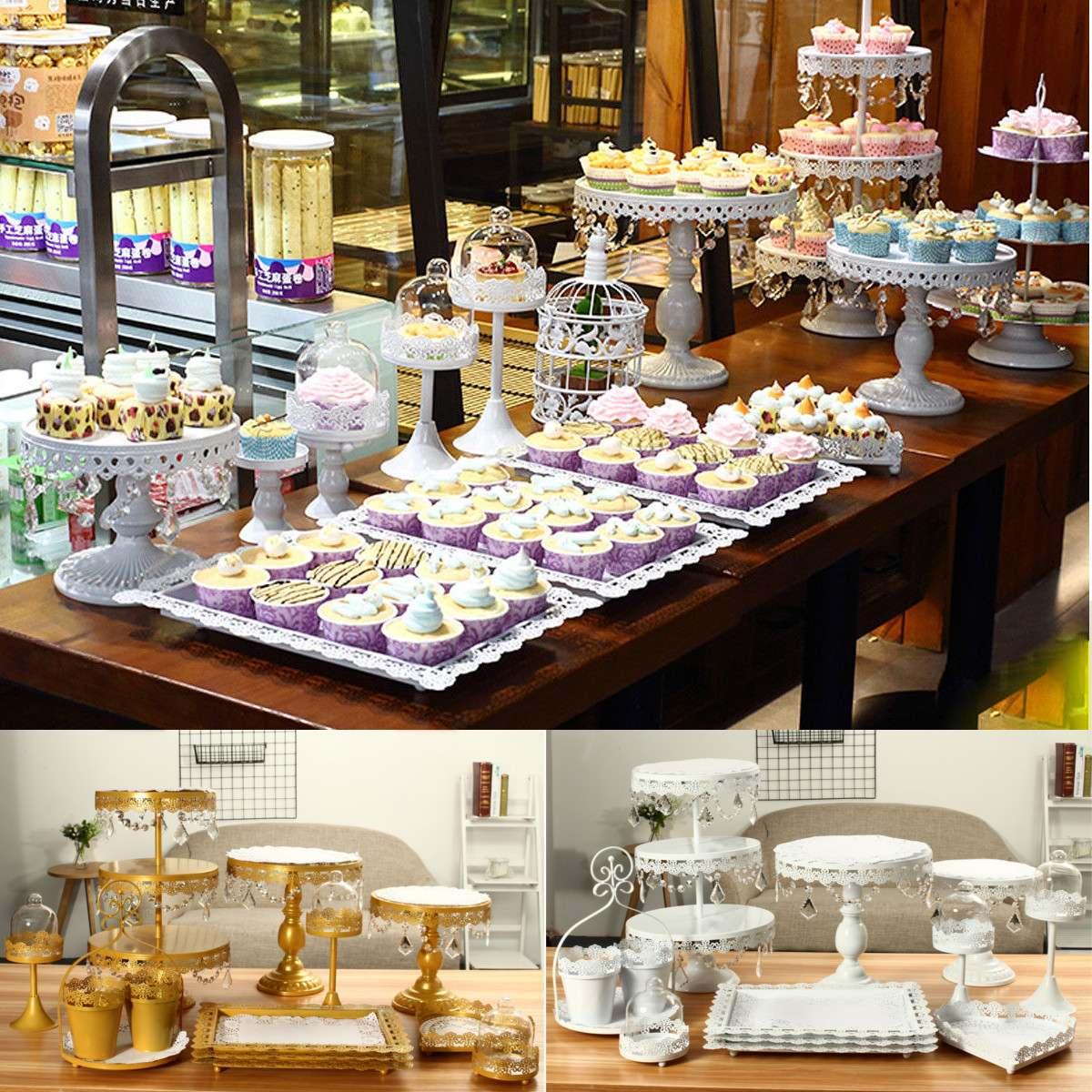 Support métallique de gâteau en cristal   Ensemble de stands modernes, support de Cupcake, support de Dessert, décoration de socle pour fête d'anniversaire ou mariage, or blanc
