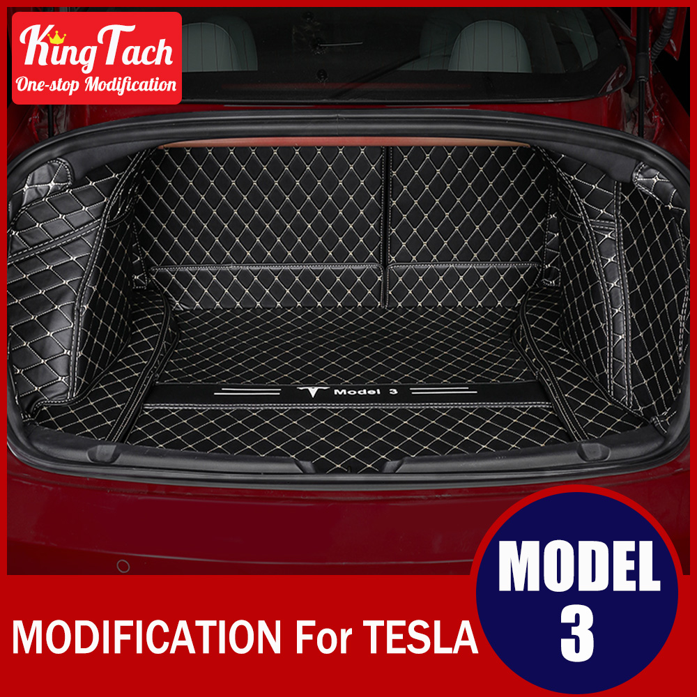 Interior PU Rear Trunk Mat For Tesla MODEL 3 Modified Decoration