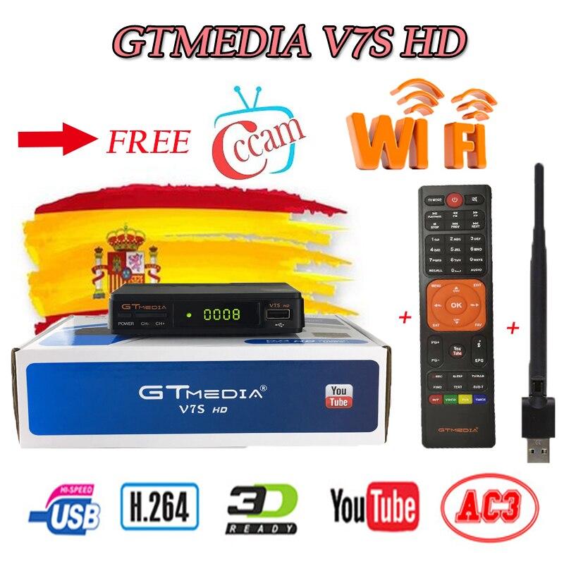 Spain Delivery Satellite TV Receiver Gtmedia V7S HD Receptor Support Europe Cline For DVB-S2 Youtube FULL HD 1080P Freesat V7 HD
