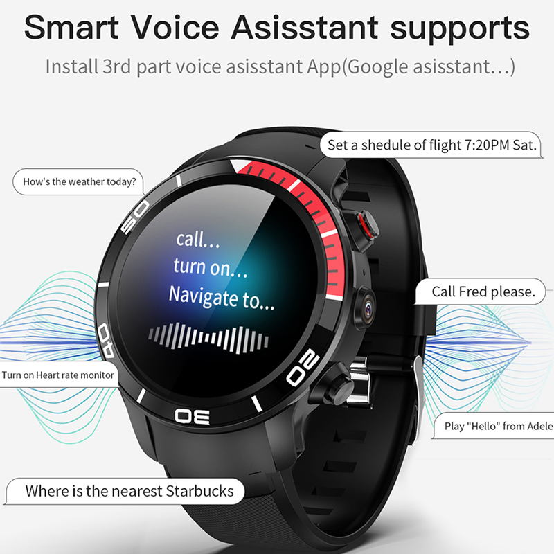 ESEED H8 4G GPS WIFI Smartwatch men IP68 waterproof 5MP Camera 16GB/ROM support Nano SIM Heart Rate Monitor for android ios - 4