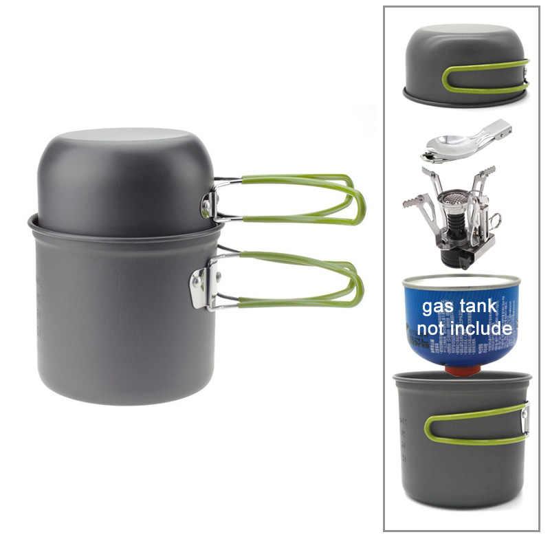 Liga de alumínio Camping Pot Caminhadas Turísticas de Piquenique Conjunto de Talheres Com Colher Dobrar Mini Fogão A Gás Ao Ar Livre Viagem de Acampamento Panelas