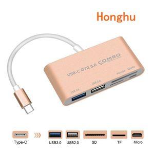Muti-funkcja USB C3.1 type-c OTG do czytnika kart/USB 3.0/SD/TF Adapter do laptopów typu C