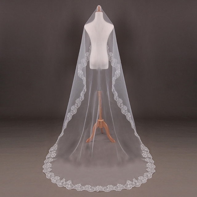 150cm Women Bridal Short Wedding Veil White One Layer Lace Flower Edge Appliques wedding accessories for women bride 2