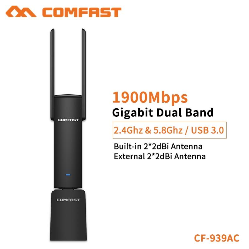 COMFAST USB Wifi adaptateur 1900Mbps 2.4Ghz et 5.8Ghz double bande wifi Dongle Plug And Play AC carte réseau USB Wifi antenne CF-939AC