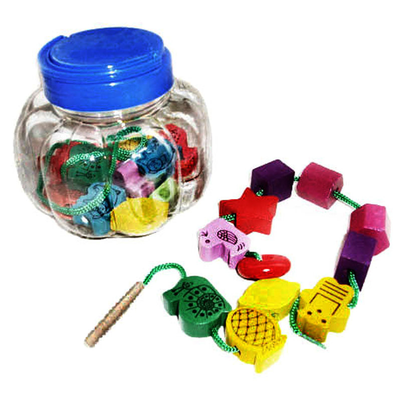 Pumpkin Bottled Wooden Beaded Bracelet Children Wearing Rope Game Parent And Child Interactive Fruit Animal Cognitive Early Educ