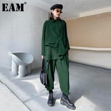 [EAM] pantaloni larghi irregolari abito a due pezzi di grandi dimensioni nuovo risvolto manica lunga vestibilità ampia moda donna primavera autunno 2021 1Z605